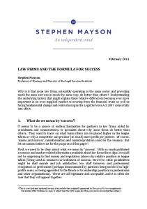 LAW FIRMS AND THE FORMULA FOR SUCCESS