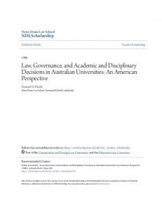 Law, Governance, and Academic and Disciplinary Decisions in Australian Universities: An American Perspective