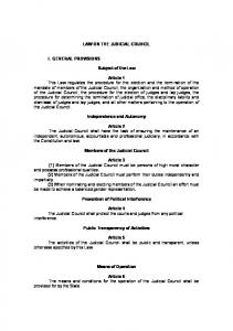 LAW ON THE JUDICIAL COUNCIL. Subject of the Law