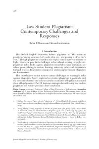 Law Student Plagiarism: Contemporary Challenges and Responses