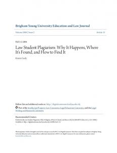 Law Student Plagiarism: Why It Happens, Where It's Found, and How to Find It