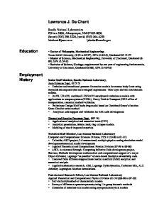 Lawrence J. De Chant. Education. Employment History