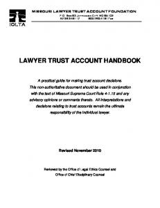 LAWYER TRUST ACCOUNT HANDBOOK