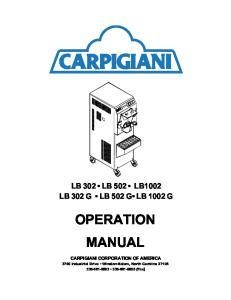 LB 302 LB 502 LB1002 LB 302 G LB 502 G LB 1002 G OPERATION MANUAL