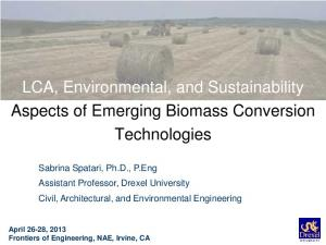 LCA, Environmental, and Sustainability Aspects of Emerging Biomass Conversion Technologies