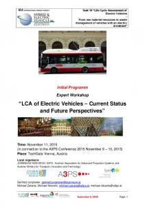 LCA of Electric Vehicles Current Status and Future Perspectives