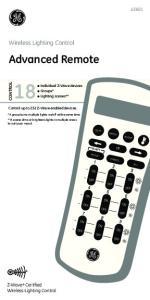 LCD remo. Advanced Remote. Wireless Lighting Control. Z-Wave Certified Wireless Lighting Control CONTROL