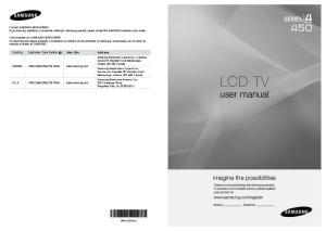 LCD TV. user manual. imagine the possibilities