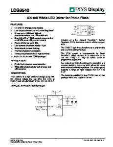 LDS ma White LED Driver for Photo Flash FEATURES APPLICATION DESCRIPTION TYPICAL APPLICATION CIRCUIT