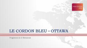 LE CORDON BLEU OTTAWA. Programa de 2 Semanas