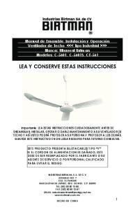 LEA Y CONSERVE ESTAS INSTRUCCIONES