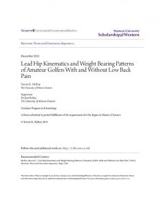 Lead Hip Kinematics and Weight Bearing Patterns of Amateur Golfers With and Without Low Back Pain