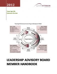 LEADERSHIP ADVISORY BOARD MEMBER HANDBOOK