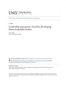 Leadership assessment: A tool for developing future hospitality leaders
