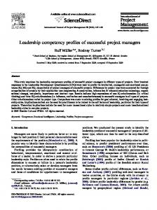 Leadership competency profiles of successful project managers