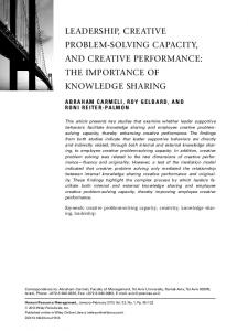 LEADERSHIP, CREATIVE PROBLEM-SOLVING CAPACITY, AND CREATIVE PERFORMANCE: THE IMPORTANCE OF KNOWLEDGE SHARING