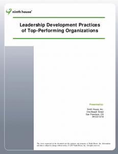 Leadership Development Practices of Top-Performing Organizations