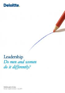 Leadership Do men and women do it differently?