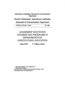 LEADERSHIP EDUCATION COURSES AND PROGRAMS IN DEPARTMENTS OF AGRICULTURAL EDUCATION