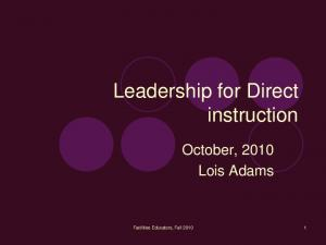Leadership for Direct instruction