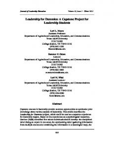 Leadership for Dummies: A Capstone Project for Leadership Students
