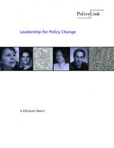 Leadership for Policy Change