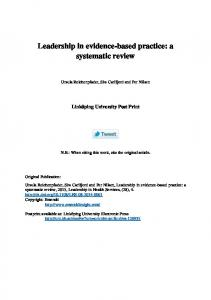 Leadership in evidence-based practice: a systematic review