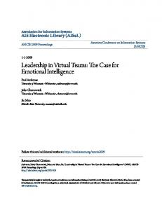 Leadership in Virtual Teams: The Case for Emotional Intelligence