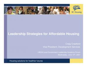 Leadership Strategies for Affordable Housing