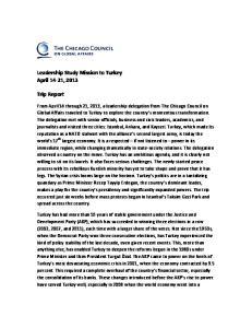 Leadership Study Mission to Turkey April 14-21, Trip Report