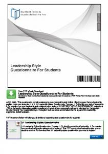 Leadership Style Questionnaire For Students