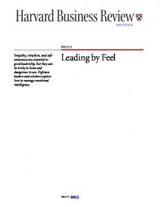 Leading by Feel. Empathy, intuition, and selfawareness