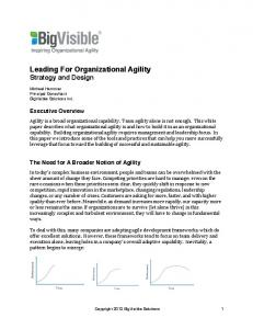 Leading For Organizational Agility Strategy and Design