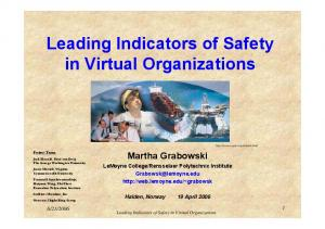 Leading Indicators of Safety in Virtual Organizations