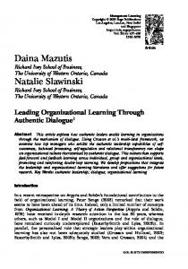 Leading Organizational Learning Through Authentic Dialogue 1