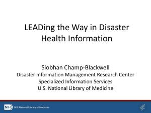 LEADing the Way in Disaster Health Information