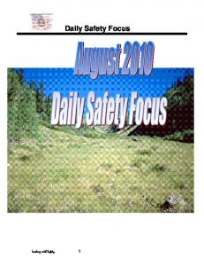 Leading with Safety 1. Daily Safety Focus