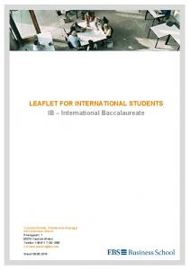 LEAFLET FOR INTERNATIONAL STUDENTS IB International Baccalaureate