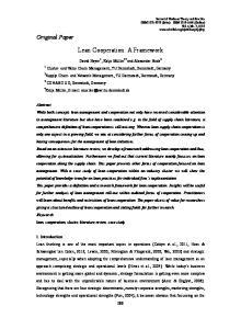 Lean Cooperation: A Framework