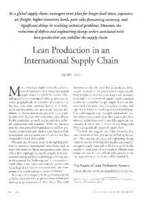 Lean ljroduction in an International Supply Chain