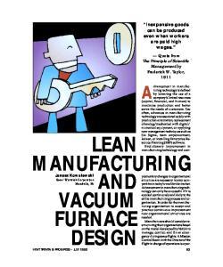 LEAN MANUFACTURING AND VACUUM FURNACE DESIGN