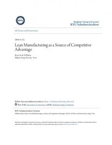 Lean Manufacturing as a Source of Competitive Advantage