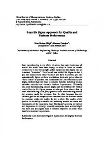 Lean Six Sigma Approach for Quality and Business Performance