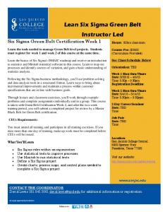 Lean Six Sigma Green Belt Instructor Led
