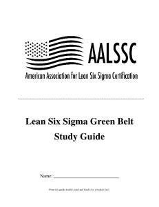 Lean Six Sigma Green Belt Study Guide