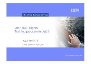 Lean (Six) Sigma Training program in detail