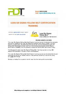 LEAN SIX SIGMA YELLOW BELT CERTIFICATION TRAINING