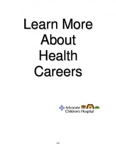 Learn More About Health Careers - i -