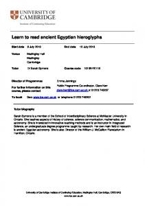 Learn to read ancient Egyptian hieroglyphs