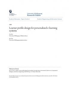Learner profile design for personalized e-learning systems